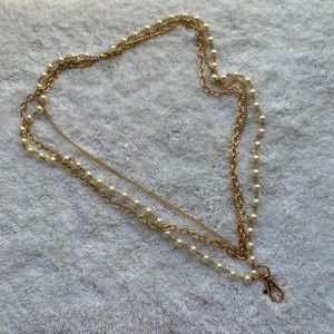 Layer Gold Pearl Key Card Holder Lanyard Necklace
